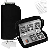 Memory Card Carrying Case - Suitable for SDHC and SD Cards - 8 Pages and 22 Slots - ECO-FUSED Microfiber Cleaning Cloth Included