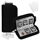 Memory Card Case - Fits up to 22x SD, SDHC, Micro SD, Mini SD and 4X CF - Holder with 22 Slots (8 Pages) - for Storage and Travel - Microfiber Cleaning Cloth and Labels Included