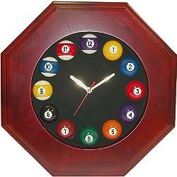 Trademark Octagonal Wood Billiards Quartz Clock Billiard Ball Clock, Brown
