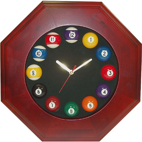 Trademark Octagonal Wood Billiards Quartz Clock Billiard Ball Clock, Brown