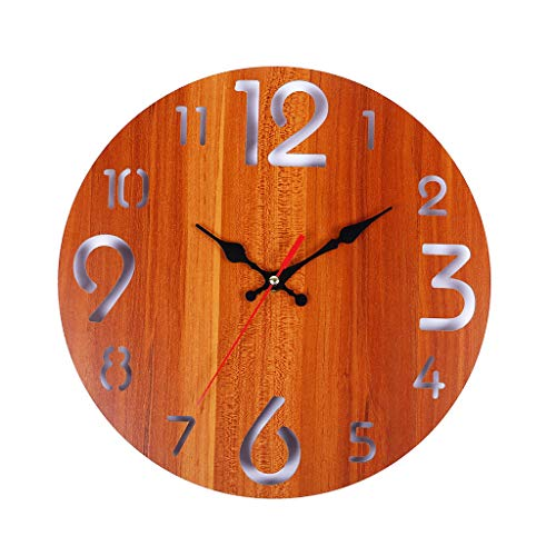 wuliLINL2019 Vintage Rustic Wooden Wall Clock Antique Shabby Retro Home Kitchen Room Decor
