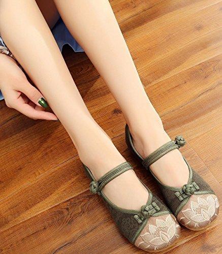 Satuki Handgjorda Broderade Skor För Kvinnor, Kinesisk Stil Tillfällig Dagdrivaren Platta Blommig Klänning Skor Mörkgrön