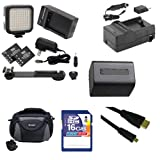 Sony HDR-CX290 Camcorder Accessory Kit includes: SDNPFV70NEW Battery, SDM-109 Charger, SD4/16GB Memory Card, SDC-26 Case, HDMI6FMC AV & HDMI Cable, LED-70 On-Camera Lighting