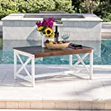 Christopher Knight Home 302804'' Ivan CKH Outdoor Accent Tables, White Base + Dark Brown Top