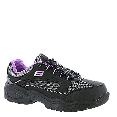 SKECHERS Work Women's Biscoe Black Action Nubuck/Purple Trim (Leather Steel Toe Sneakers)