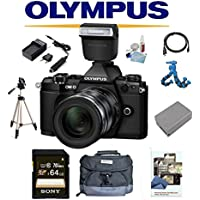 Olympus OM-D E-M5 Mark II (Black) W/ 12-50mm Lens + Olympus FL-LM3 Flash, 64GB Deluxe Kit OMD EM5 OMDEM5 O-MD EM-5 OM-D MII M2