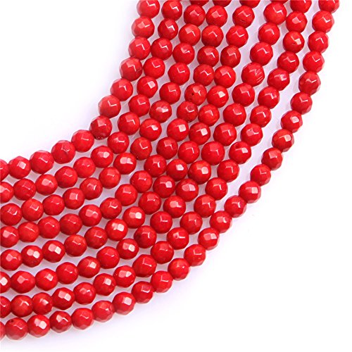 4 Mm Red Coral (3.5mm Dyed Semi Precious Round Faceted Red Coral Gemstone Beads for Jewelry Making Strand)