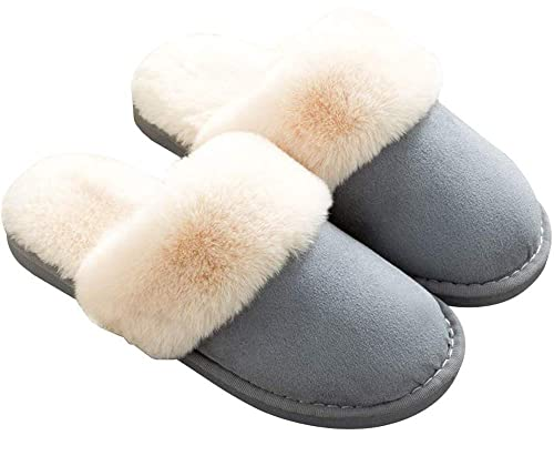 240cfa58a Amazon.com | Womens Mens Slippers, Memory Foam Fluffy Fleece Fur Lined Slip  on House Slipper Non-Slip Plush Clogs Indoor & Outdoor Winter Blue |  Slippers