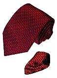 LORENZO CANA Italian Pure Silk Tie Hanky Set Red Blue Woven Handmade 8406301