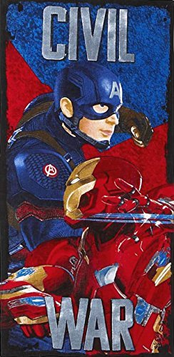 Captain America & Iron Man Civil War Beach Towel measures 28 x 58 inches