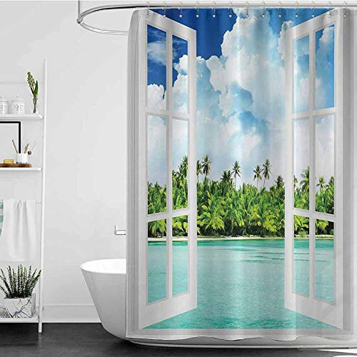 Shower Curtains Fabric Zen Ocean Decor,Palm Trees Tropical Island Beach Nature Paradise Panoramic Picture Through Wooden Windows Scene Theme,Blue White Green Turquoise White W72 x L96,Shower Curtain