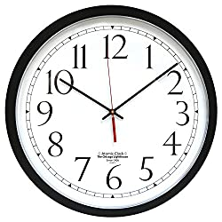 The Chicago Lighthouse Contemporary Atomic Wall Clock, 16.5, Black