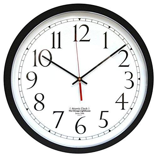 "Contemporary Atomic Wall Clock, 16.5"", Black"