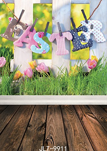 SJOLOON 5x7ft Easter with Floor Vinyl Photography Backdrop Customized Photo Background Studio Prop 9911]()