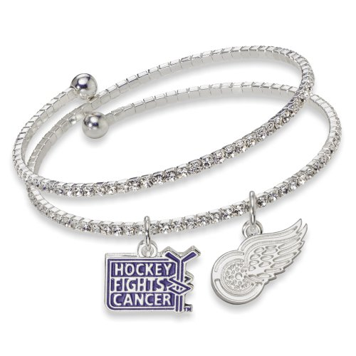 Detroit Red Wings Logo Charm (NHL Detroit Red Wings Hockey Fights Cancer Support Bracelet, One Size Fits All)