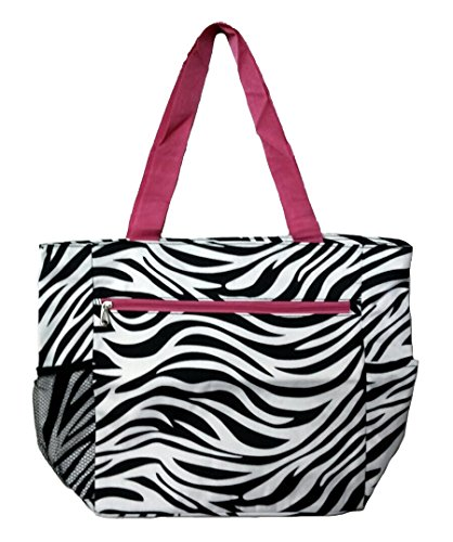 Large Tote Bag   13.5 Inch Shopping or Beach Bag by Unique Traveler (Zebra Print-Pink -