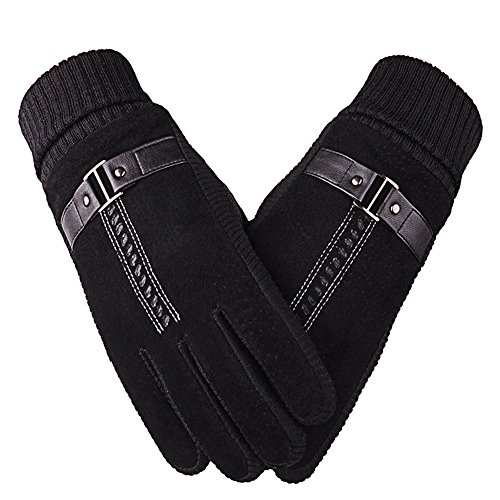 Polar Fleece Glove Liners (Winter gloves,Nakeey Warm Gloves,Cold Weather Gloves with Pigskin Suede Leather and Thick Windproof Polar Fleece for Men & Women(black))