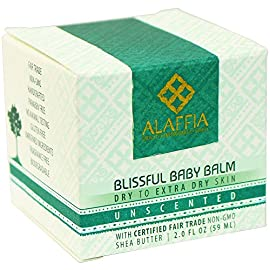 Alaffia - Blissful Baby Balm, For Dry to Extra Dry Skin, Moisturizing Support to Gently Soothe and Calm Baby with Shea Butter, Calendula, and Coconut Oil, Unscented, 2 Ounces 2 100% FAIR TRADE: Feel good about how you are getting your products with 100% Certified Fair Trade Ingredients. FORMULATED FOR BABY'S SKIN: Blissful Baby Balm soothes, calms and moisturizes your baby's skin with certified fair trade shea butter and virgin coconut oil MULTIPURPOSE FOR MANY NEEDS: Shea Butter has been proven scientifically to heal small cuts, burns and chapped skin, and is ideal for babies.