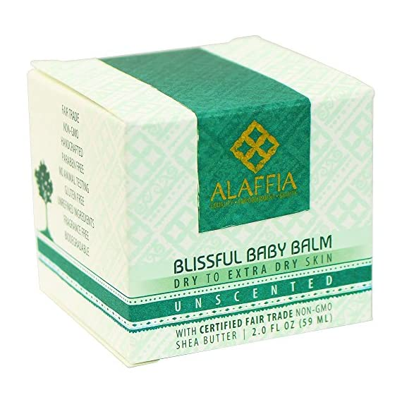Alaffia - Blissful Baby Balm, For Dry to Extra Dry Skin, Moisturizing Support to Gently Soothe and Calm Baby with Shea Butter, Calendula, and Coconut Oil, Unscented, 2 Ounces 1 100% FAIR TRADE: Feel good about how you are getting your products with 100% Certified Fair Trade Ingredients. FORMULATED FOR BABY'S SKIN: Blissful Baby Balm soothes, calms and moisturizes your baby's skin with certified fair trade shea butter and virgin coconut oil MULTIPURPOSE FOR MANY NEEDS: Shea Butter has been proven scientifically to heal small cuts, burns and chapped skin, and is ideal for babies.