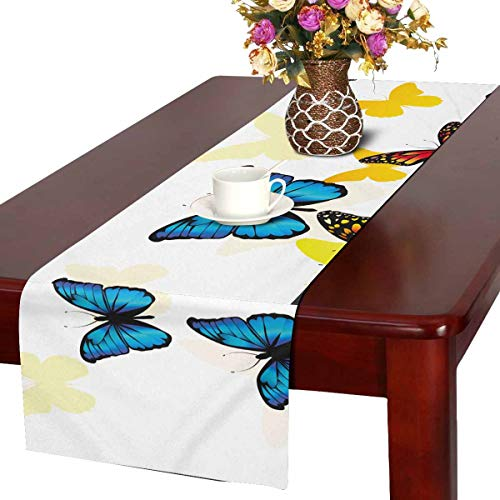 Butterflies Dresser Scarf (INTERESTPRINT Christmas Table Runner and Dresser Scarf, Rectangular Colorful Butterflies Flying 14 by 72-Inch)