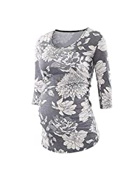 BOLUOYI Women's Side Ruched 3/4 Sleeve Maternity T Shirt Top Pregnancy Clothes