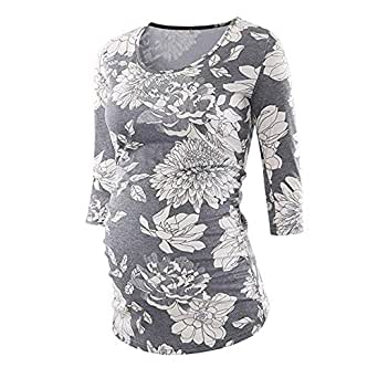2019 Matermity Shirts, Women's Side Ruched 3/4 Sleeve