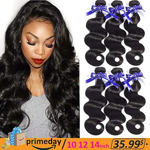 Hermosa Hair 9A Brazilian Body Wave 3 Bundles 100% Good Quality Unprocessed Brazilian Virgin Human Hair Bundles 10 12 14inch Black Color