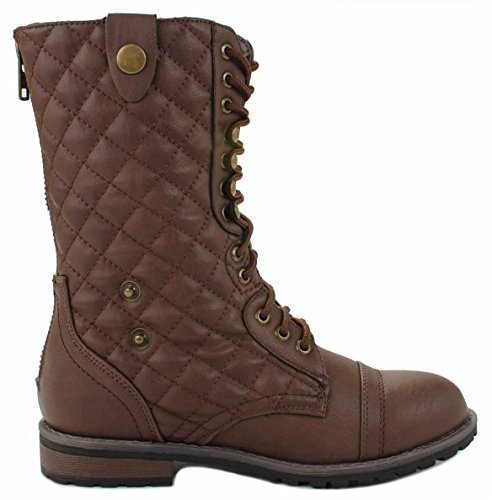 Leather Foldable Cuff Quilted fur Back Military lined Zipper Faux Brown Up Lace Combat Plaid Women Boots EwqXH1x