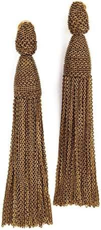 Oscar de la Renta Womens Classic Long Chain Tassel C Earrings