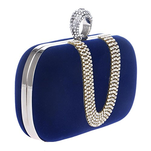 Bags Chain Purse Rhinestones Evening blue Diamonds Women U Evening Wedding Bags Shoulder type Clutch Evening Mini Polyester Women Fashion Metal TuTu Bag qg6BU