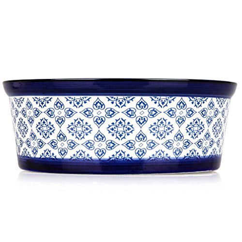 Heavy Ceramic (Ceramic Dog Food Bowl: Heavy Food or Water Pet Bowl Dish for Medium and Large Dogs - Individual Blue and White Porcelain Ceramic Drink or Feeding Dish for Pets - Medium/Large, 8.3 inches x 3.35 inches)