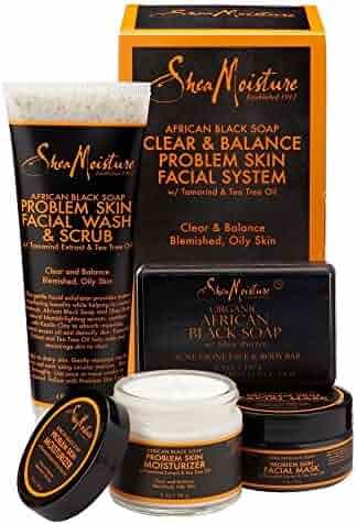 SheaMoisture African Black Soap Facial Care Kit |4oz. Facial Wash & Scrub |4 oz. Problem Skin Facial Mask | 2oz. Moisturizer | 3.5oz Bar Soap