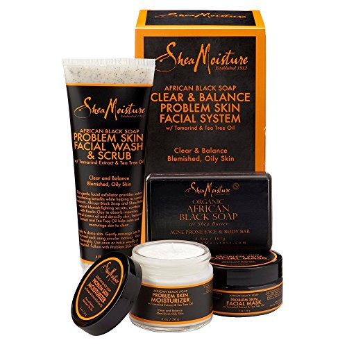 SheaMoisture African Black Soap Facial Care Kit |4oz. Facial Wash & Scrub |4 oz. Problem Skin Facial Mask | 2oz. Moisturizer | 3.5oz Bar Soap