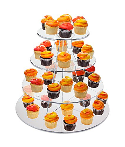 Source One Large 16 Inch 4 Tier Full Circle Riser Display Stand Cup Cakes , Figurines Etc. - Clear