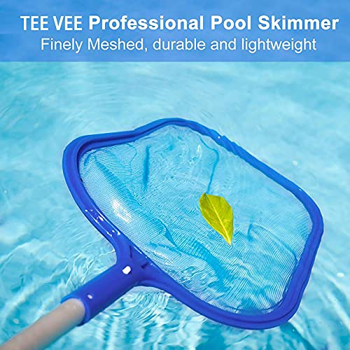 Tee Vee Hot Tub Skimmer with 14-41 inch Adjustable Telescopic Pole Swimming Pool Cleaning Leaf Skim Net Pool Hand Leaf Skimmer Net for Spas and Fountains
