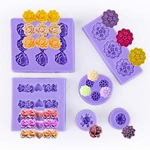 6ps molde silicona de fondant con forma flores para tartas y pasteles hogar - Moldes silicona amazon ...
