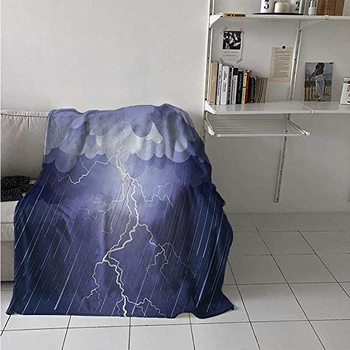 Night Digital Printing Blanket Lightning Strike Thunderstorm in The Air at Dark Night Rainy Electric Force Flashes Image Summer Quilt Comforter 62x60 Inch Blue
