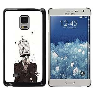 TopCaseStore / la caja del caucho duro de la cubierta de protección de la piel - chelovek kostyum kletka ptica - Samsung Galaxy Mega 5.8 9150 9152