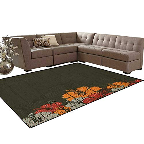 Amber Living Room Upholstery - Floral,Carpet,Abstract Wooden Backdrop with Hawaiian Romantic Flowers Buds Blooms Leaves,Rugs for Living Room,Amber Red Army Green Size:6'x9'