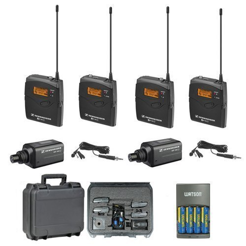 4 Wireless Mic System Case (Sennheiser EW 100 ENG G3-A Dual (516-558 MHz) omni-directional clip-on Microphone Kit System + SKB Waterproof Dual Hard Case & 4 AA NiMH Rechargeable Batteries with Charger)