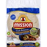 Mission 10 Inch Carb Balance Whole Wheat Tortillas LARGE Burrito 8 ct 20 oz Kosher Certified