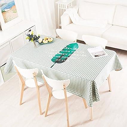 140 * 240 cm verde Checker hoja escandinavo moderno Instagram mantel algodón lino mesa de comedor