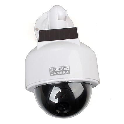 SeeSii Cámara Simulada Falsa de Vigilancia Cámara Dome Hemisférica Energía Solar CCTV Dome Fake Surveillance Flashing