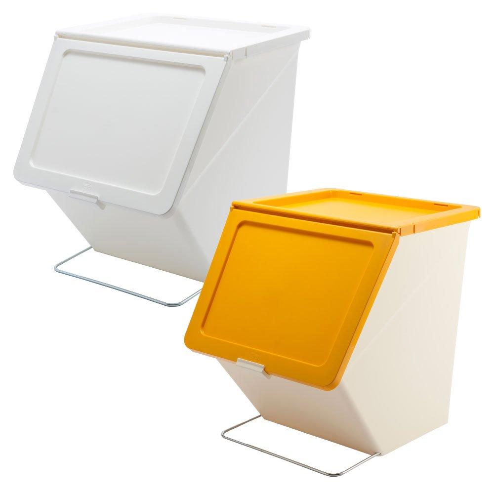 スタックストー ペリカン ガービー 38L 2個セット stacksto, pelican garbee ゴミ箱 ごみ箱 ダストボックス (ホワイト×イエロー) B01N29BF9O ホワイト×イエロー ホワイト×イエロー