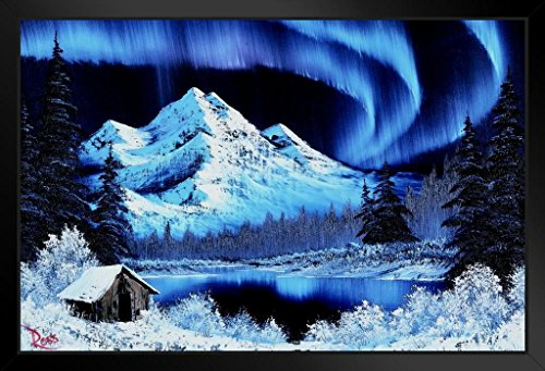 Bob Ross Northern Lights Art Print Canvas Painting Framed Poster 14x20 inch