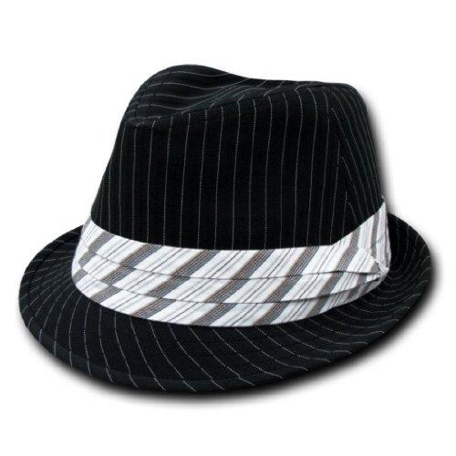 (Decky Pinstripe Fashion Fedora Hat Black/White (Large/XL))
