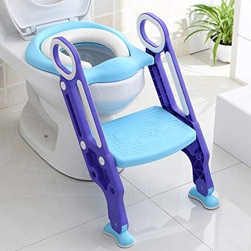 asiento plegable para ni/ños con escalera antideslizante entrenamiento infantil ajustable con coj/ín acolchado Orinal de inodoro con escalera