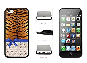 Cheetah Skin Floral Pattern With Blue Ribbon Bow Clear be Sides Plastic to Phone Case Back can Cover For Apple iphone 4s to