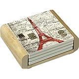 CounterArt Absorbent Coasters in Wooden Holder, Vintage Paris Design, Set of 4