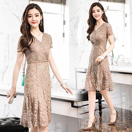 Spitze Ein Sommerfrauen Kleid Schlanke V Khaki Schlanke Ausschnitt langärmelige Wort MoMo w7YaqHH